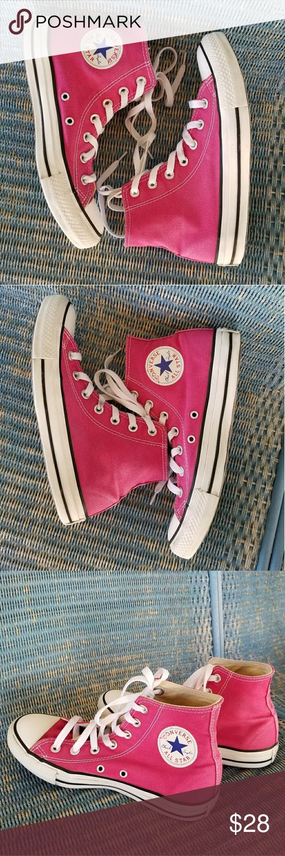 "Hot Pink, High Top Chuck Taylor Converse Great condition! Some wear on the logos as shown.  5"" Chuck Taylor High Tops by Converse. They are bright pink with a white sole. Lace up.   Women's size 8/ men's size 6 Shoe length measures 10.5 inches Converse Shoes"