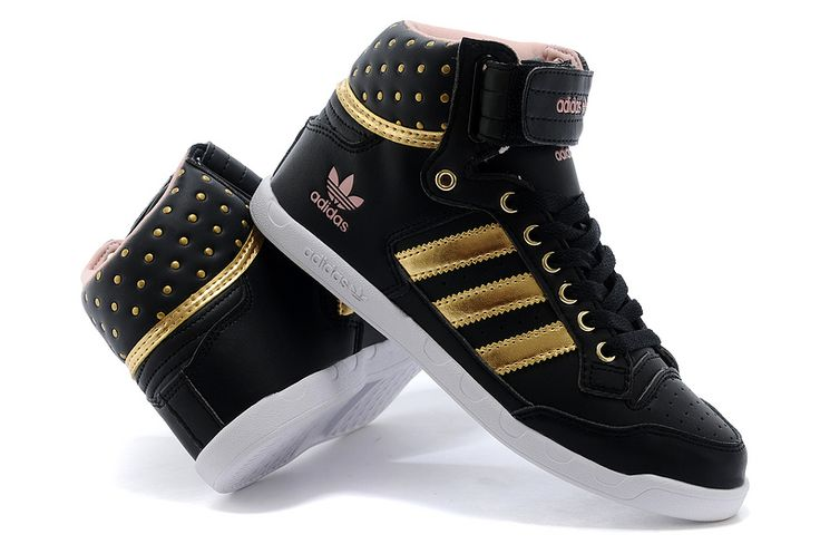New+Adidas+Shoes+High+Tops | 2015 New Adidas for women high-top shoes black gold