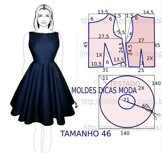 Quem não gosta de ter no guarda-roupa um vestido azul com molde! As medidas correspondem ao tamanho 46 em Portugal. Na tabela de medidas do Brasil e França corresponde ao tamanho 48.