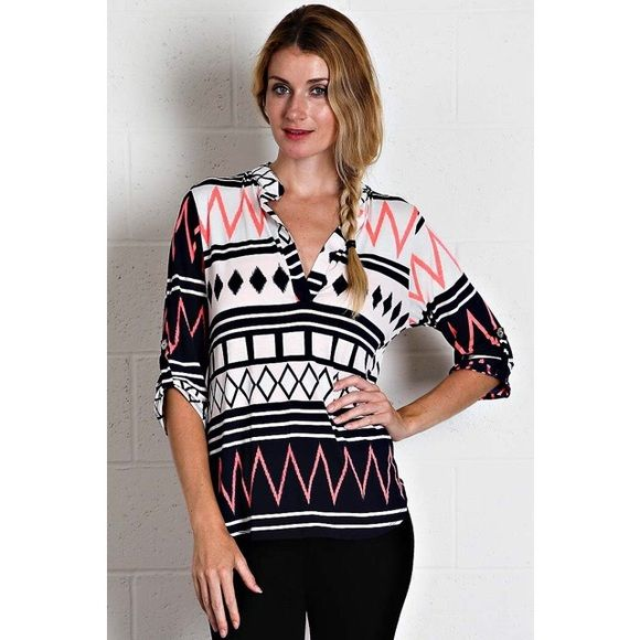 FLASH SALE Aztec Chevron Blouse Very cute! A little longer in the back. 95% polyester 5% spandex. Comment with your size when you're ready to purchase  out of medium. Tops Blouses