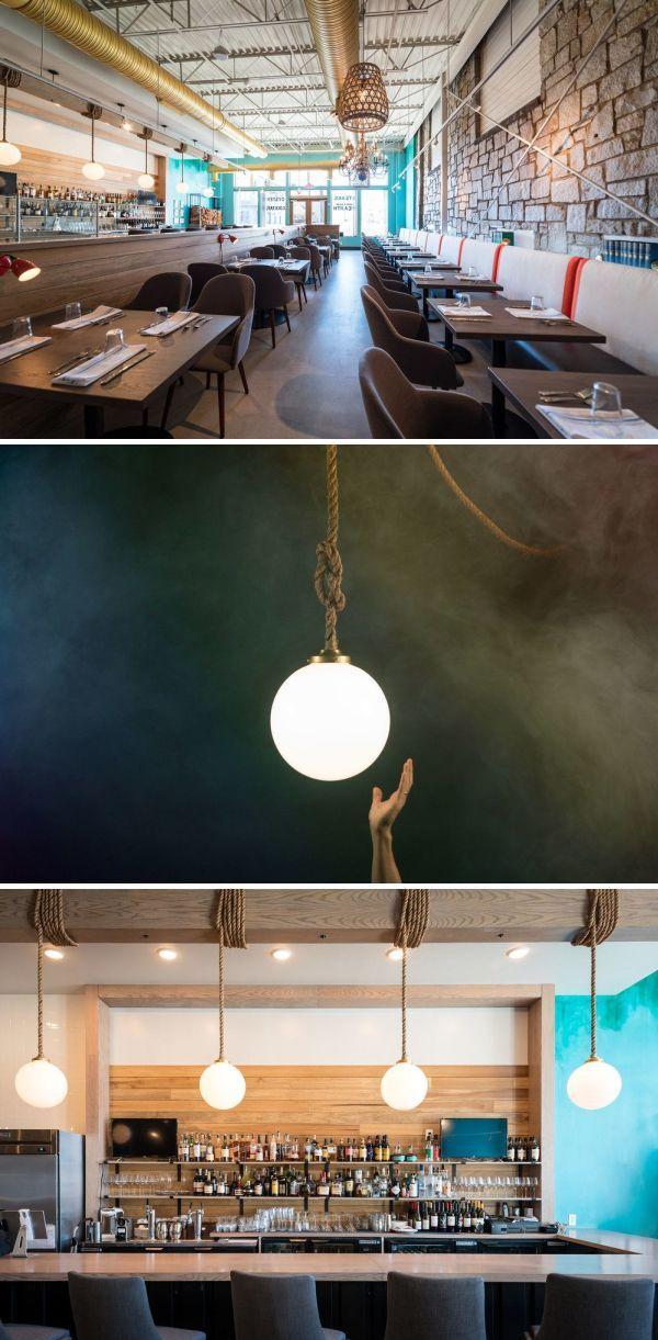 Globe Pendants By Luke Lamp Co At Noona Steakhouse Oyster Bar Unique Pendant Lights Globe Pendant Unique Light Fixtures
