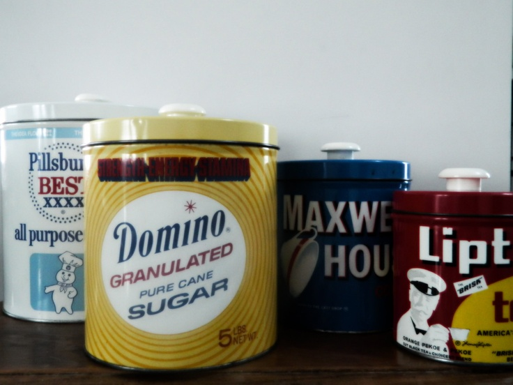 Exceptional Vintage Retro Metal Tin Kitchen Canister Set Pillsbury Flour Domino Sugar  Maxwell House Coffee Lipton Tea Old Graphic Advertising Rockabilly | Kitchen  ...