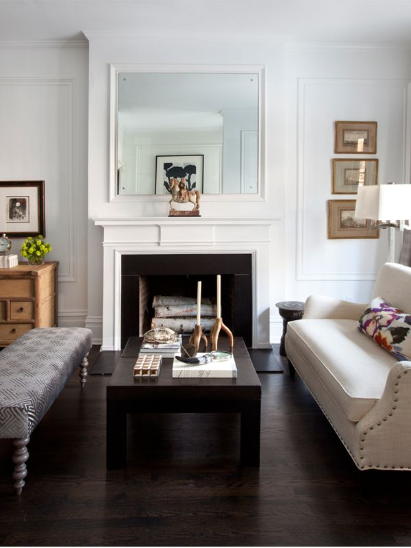 Living Room With Fireplace, Settee And Bench