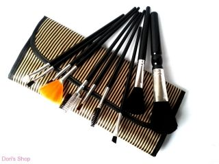 Arany-fekete csíkos sminkecset készlet