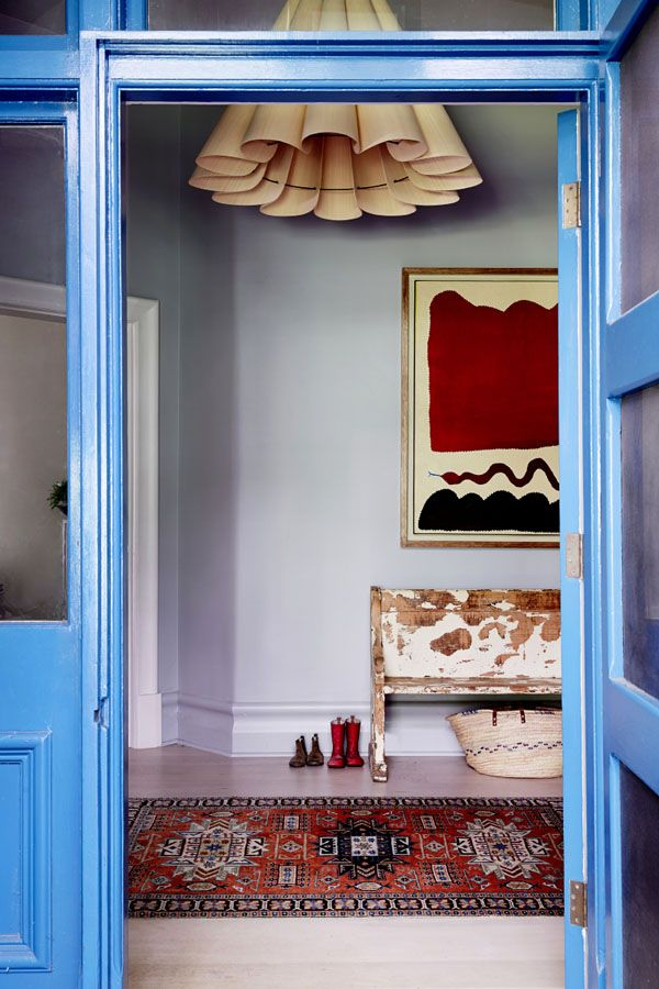 French blue and brick red.  Stylist/Designer: Fiona Richardson