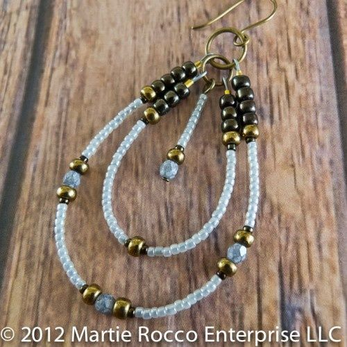 Inspiration ... Large double hoop rock star earrings in baby blue seed beads