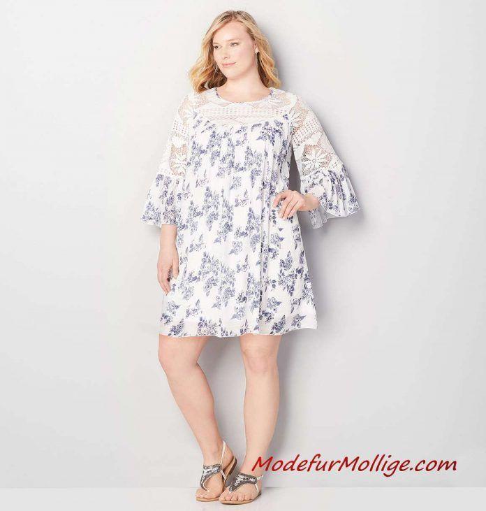 Blaues A-Linien Kleid mit Blumen und Spitze – 2019…