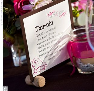 Wine-Themed Table Names- perfect for a vineyard wedding