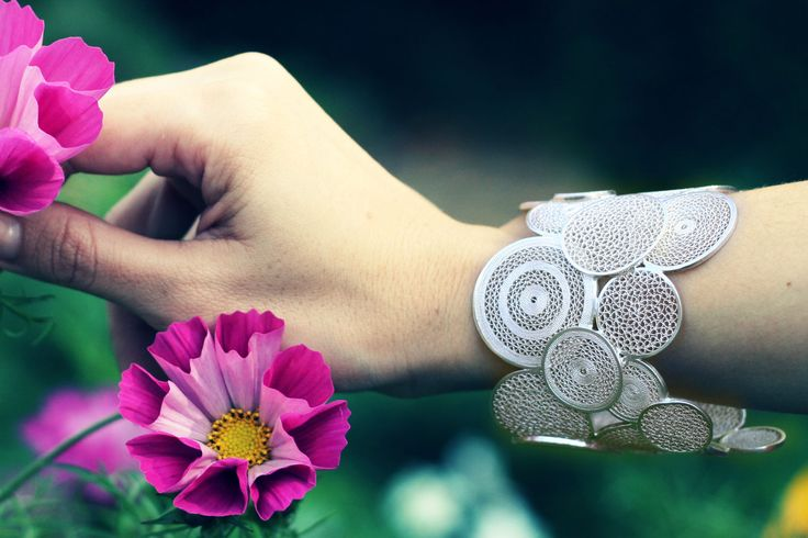 Sterling silver cuff bracelate, hand-made by Colombian artisans.