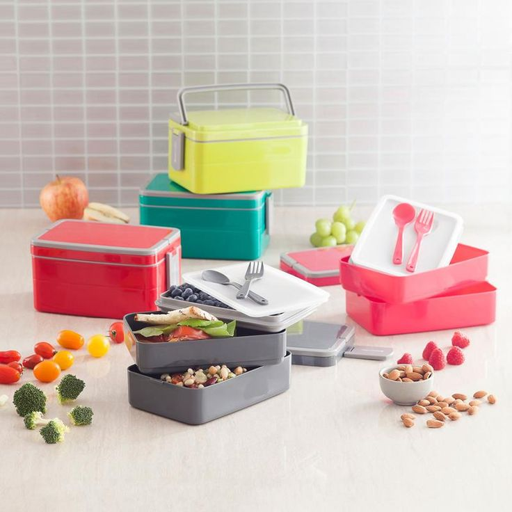 """Genmert Bento Double Stack Lunch Box Container """"brady"""" 8"""" X 4"""" X 5"""" Charcoal 