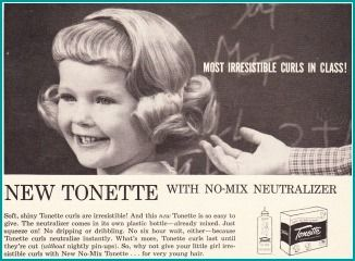 I got a Tonette wave twice a year---for school pictures in October and for Easter. Needless to say, my hair NEVER looked like this---I had pin straight bangs and frizzy puffs of hair. I can STILL smell that ammonia!!