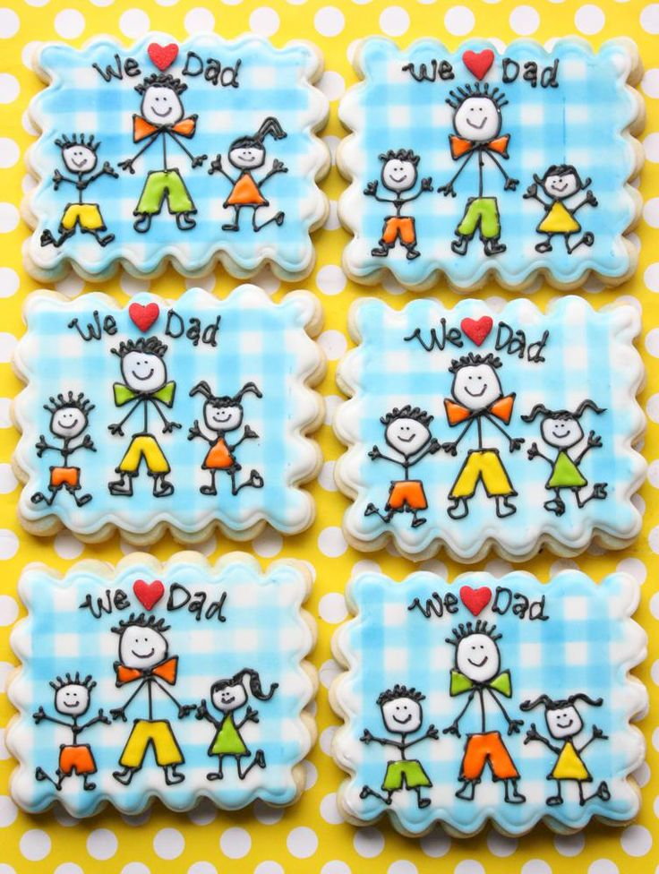 Stick Figure Dad and Kids - Father's Day Decorated Cookies.  Galletas decoradas por Dia del Padre.