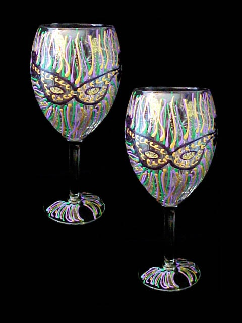 15 Best Mardi Gras Wine Glass Images On Pinterest