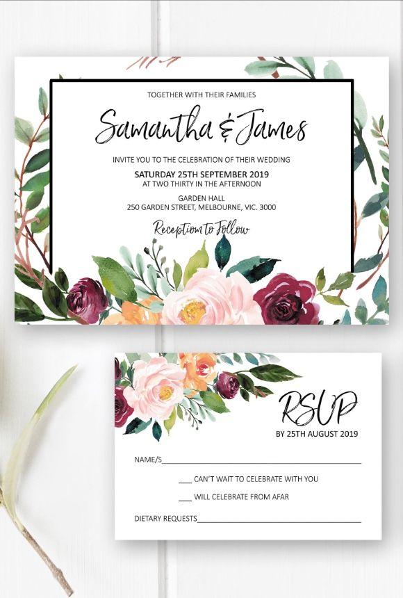 Floral wedding invitation printable, wedding invites suite, wedding invitations set from Pink Summer Designs on Etsy