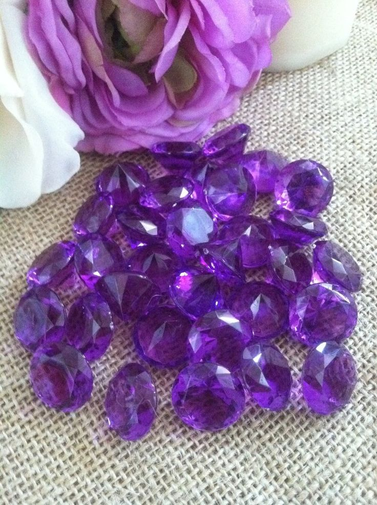 "100 Purple Diamond Confetti 3/4"" Wedding Party Table Decoration Scatter, Vase Filler Gems"