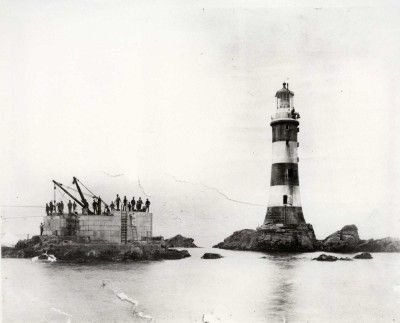 Lighthouse prints | Trinity House, Eddystone new tower construction
