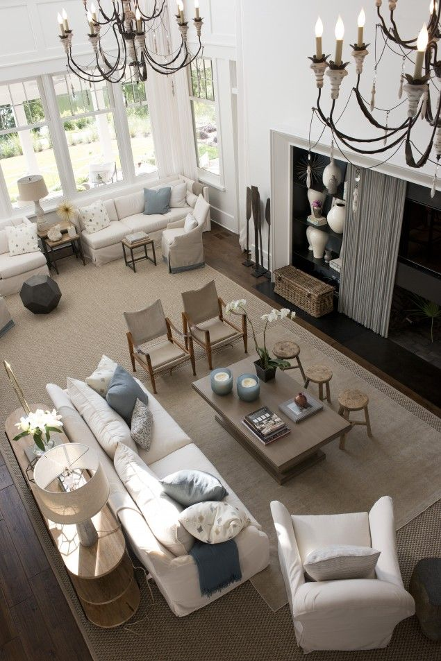 Wide open! Southern Living Idea Home - designed by Suzanne Kasler// so much seating! And layered rugs! And neutral palette!