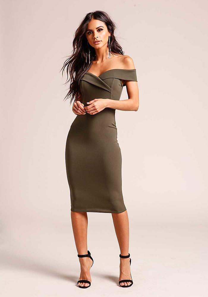 Olive Off Shoulder Bodycon Dress - Clothes 2