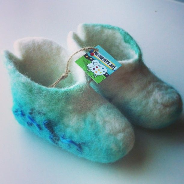White-turkuaz felted baby booties