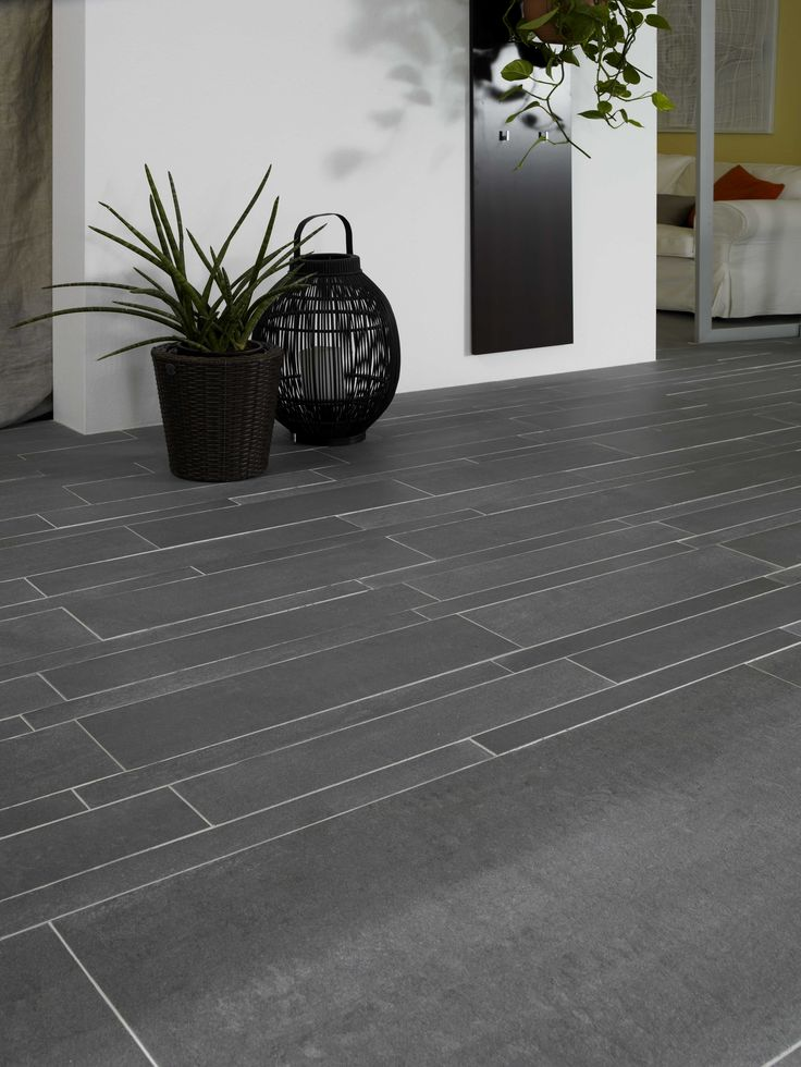 Nice pattern placement for the slate grey tiles. #tiles #grey #floortiles