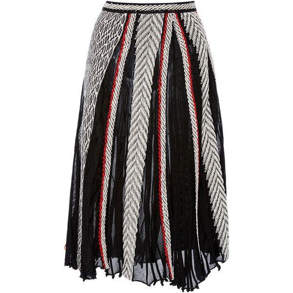 Oscar de la Renta     A-line Midi Skirt found on Polyvore featuring skirts, oscar de la renta, black, red, mid calf skirts, knee length a line skirt, emilio pucci skirt, midi skirt and a line skirt