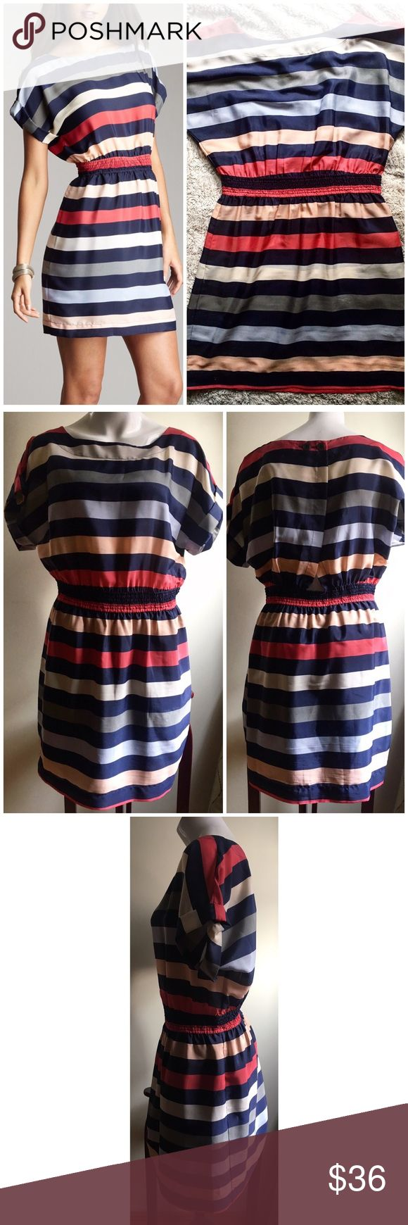 """BCBGeneration Sz Large Multi Striped Mini Dress Company:BCBGeneration Size:Large  Condition: preowned; worn once- great condition  Material: polyester  Notes: Has lining Stretch waistband Slight opening in back  2 Button closure in back, around nevk Cuffed short sleeve  Measurements laying down: Chest: 20"""" Center length (shoulder to hem): 37"""" Waist: 16"""" (stretches to ~21"""") BCBGeneration Dresses Mini"""