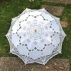 White Embroidered Cotton Wedding Umbrella