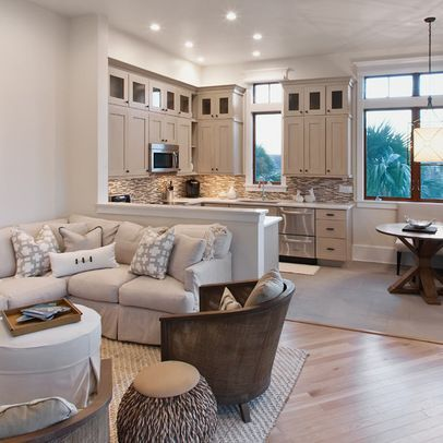 This is lovely, too!  Love the half wall that separates the space.  Love the small dining table.  In Law Suite Ideas | Mother In Law Suite Design