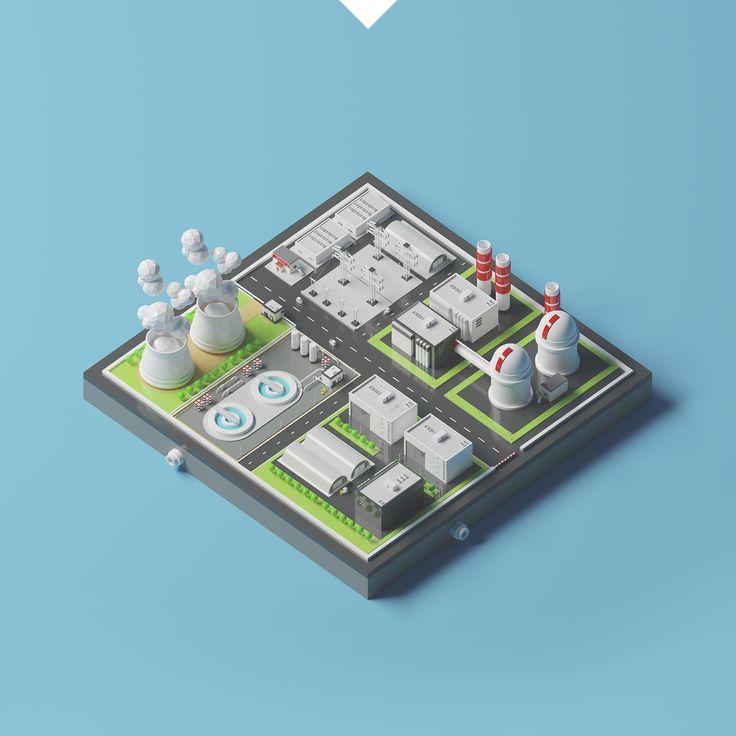 Ознакомьтесь с этим проектом @Behance: «Nuclear plant station LowPoly» https://www.behance.net/gallery/50055777/Nuclear-plant-station-LowPoly