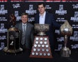 Evgeni Malkin of the Pittsburgh Penguins poses with Ted Lindsay after winning the Ted Lindsay Award, the Art Ross Trophy and the Hart Trophy