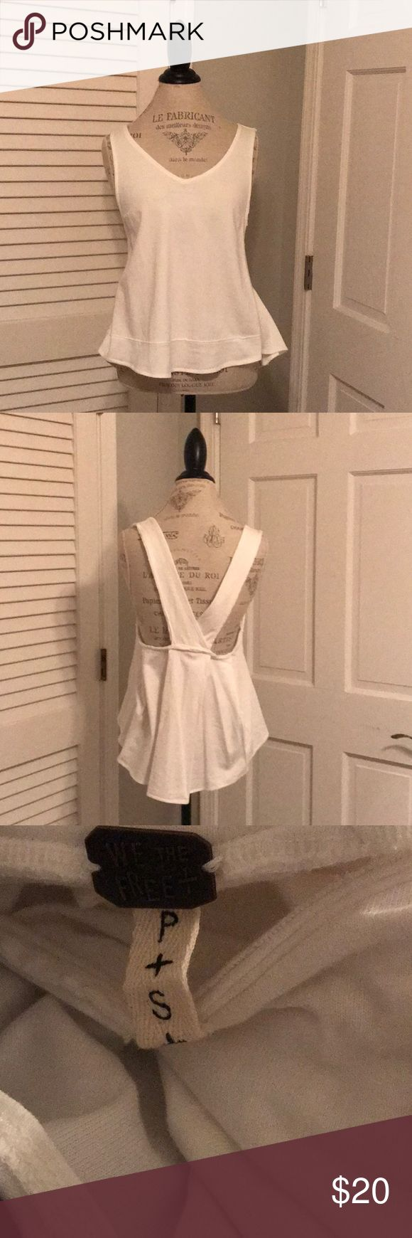 """Free People S Cotton Criss Cross Heavy sweat Tank Free people with the free heavy cotton crisscross back size small tank top- unworn Chest 17.5"""""""" Length 23.5"""" Free People Tops Tank Tops"""