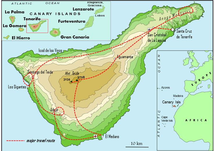 The map of the Tenerife Expedition route