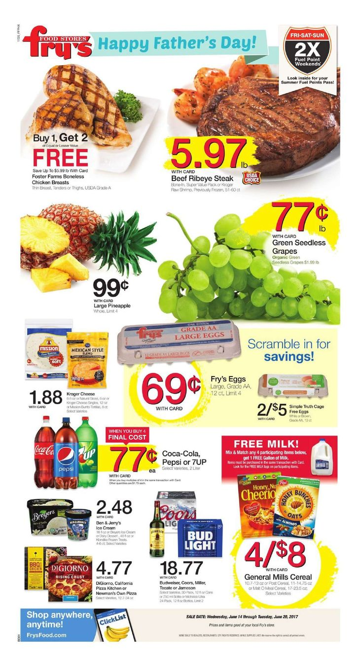 Fry's Weekly Ad June 14 - 20, 2017 - http://www.olcatalog.com/grocery/frys-weekly-ad.html