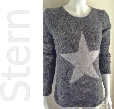 Eine gut verständliche Strickanleitung für einen super kuscheligen Pullover mit einem Stern in der Größe 38/40.  Dieser taillierte  Pullover hat einen kleinen abgerundeten Halsausschnitt.  Der  -- M E G A --  Stern verleiht diesem Pullover einen lässigen Look.