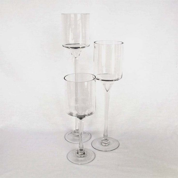 "Long Stem Glass Candle Holders Set of 3 20"", 16"", & 12"" Tall"