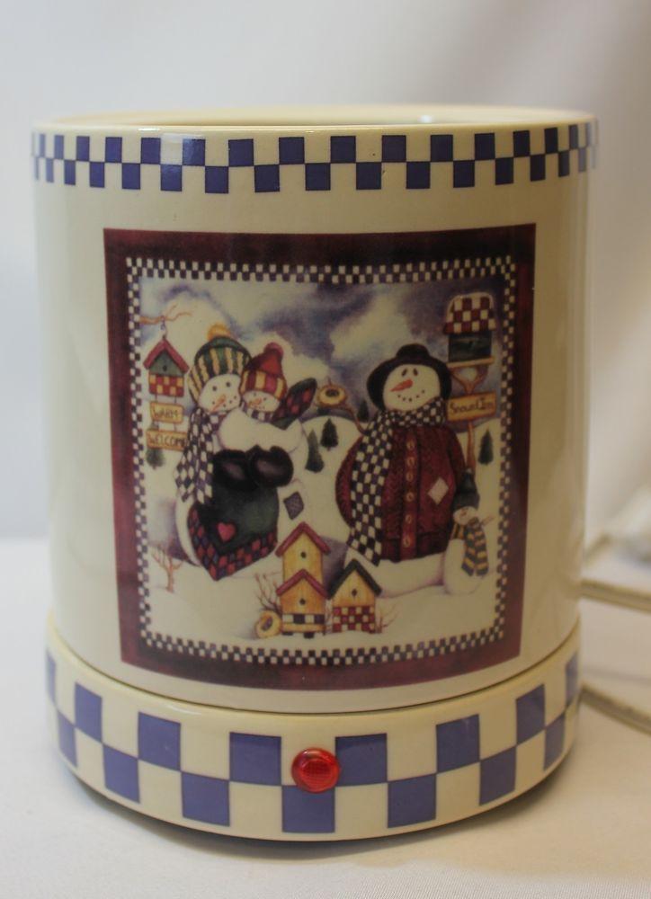 Candle Warmer Crock Large Snowmen Winter Scene Electric ...