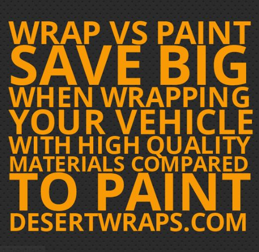 Wrap vs paint tip #2.. You will save BIG when wrapping your vehicle with high quality materials compared to paint. #VehicleWrap #SoCal #CoachellaValley