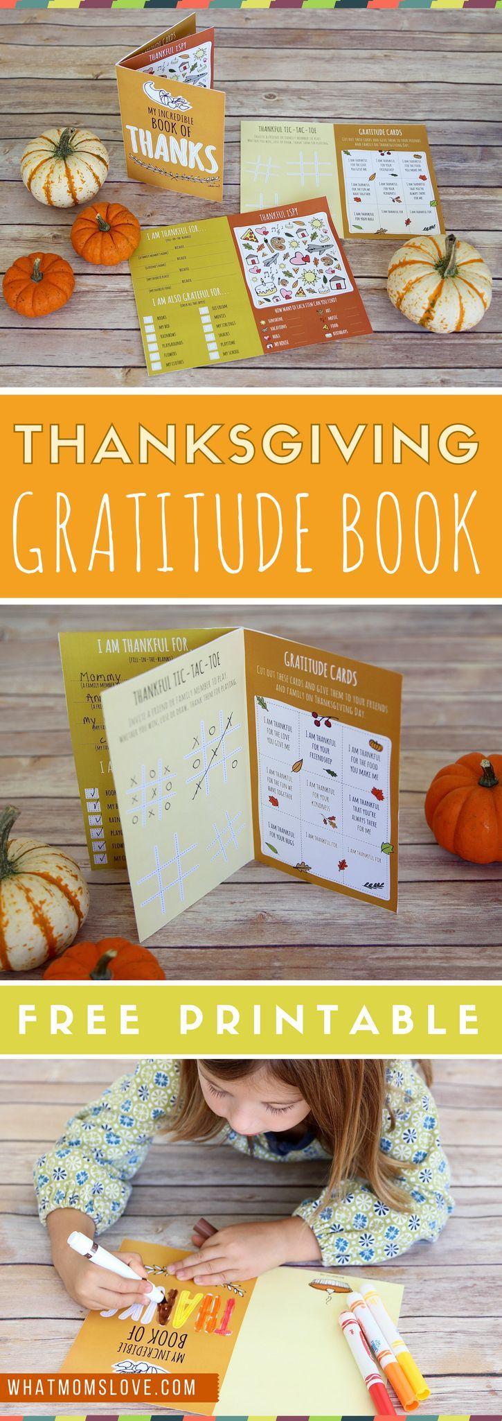 Free Printable Thanksgiving Gratitude Book for Kids