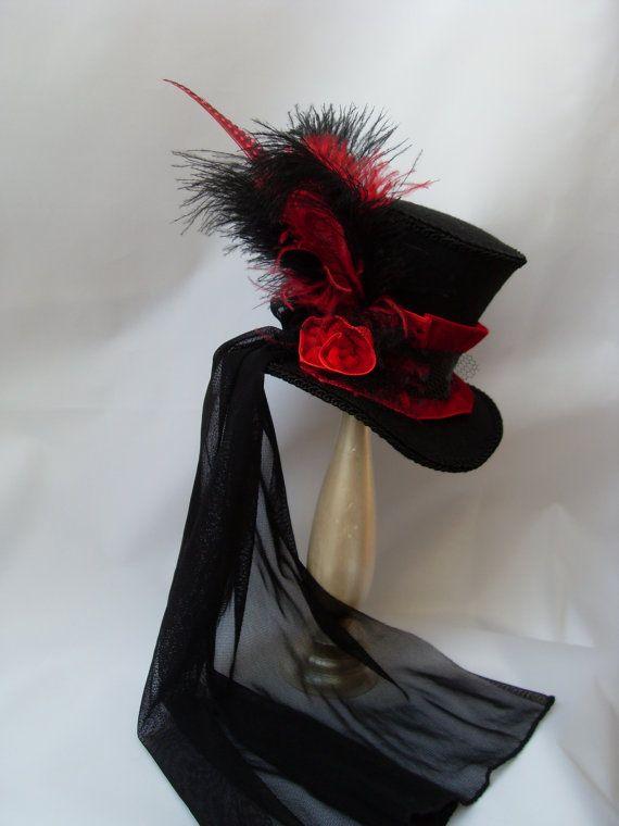 Victorian Ladys Hat Midi Mini top Hat with black by KopfTraeume,