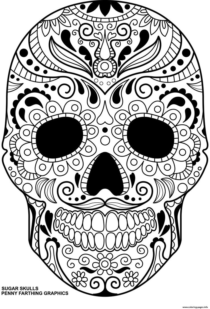 Print Sugar Skulls Day Of The Dead Calavera Coloring Pages