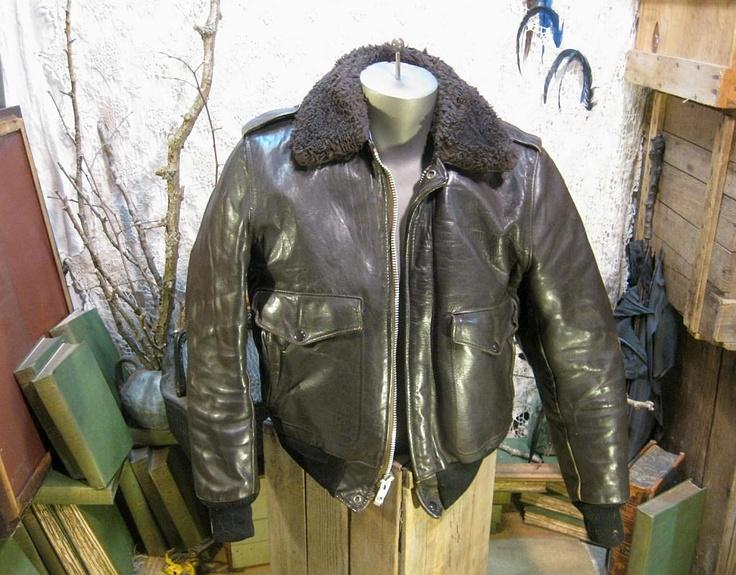 schott jacket vintage leather flight bomber faux fur collar m schott jacket bombers and leather. Black Bedroom Furniture Sets. Home Design Ideas