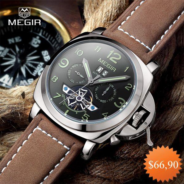 Free shipping Megir 3206 Luminous Mechanical Watch Men Genuine Nubuck Leather Strap Waterproof Wristwatch Analog Display watches