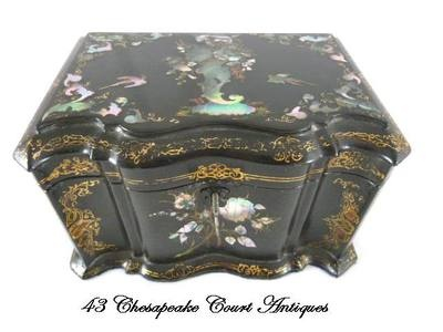 Antique Papier Mache Tea Caddy Mother of Pearl Abalone C 1850 | eBay