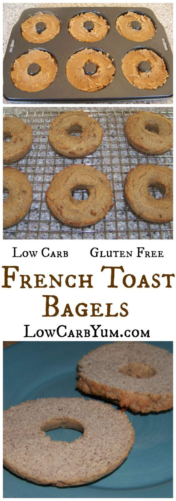 If you are missing your breakfast bagels, these gluten free low carb french toast bagels are a welcome addition. Just slice, toast, butter, and serve. LCHF Keto THM Banting Recipe