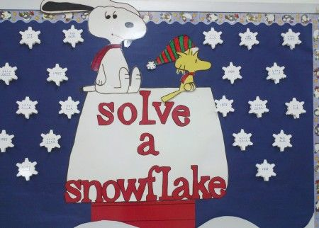 solve a snowflake...this would make a great interactive bulletin board for math