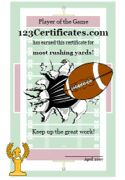 Free Printable Football Certificate Templates, Football Certificates to print, Football awards for kids, coaches, city leagues, and school teams