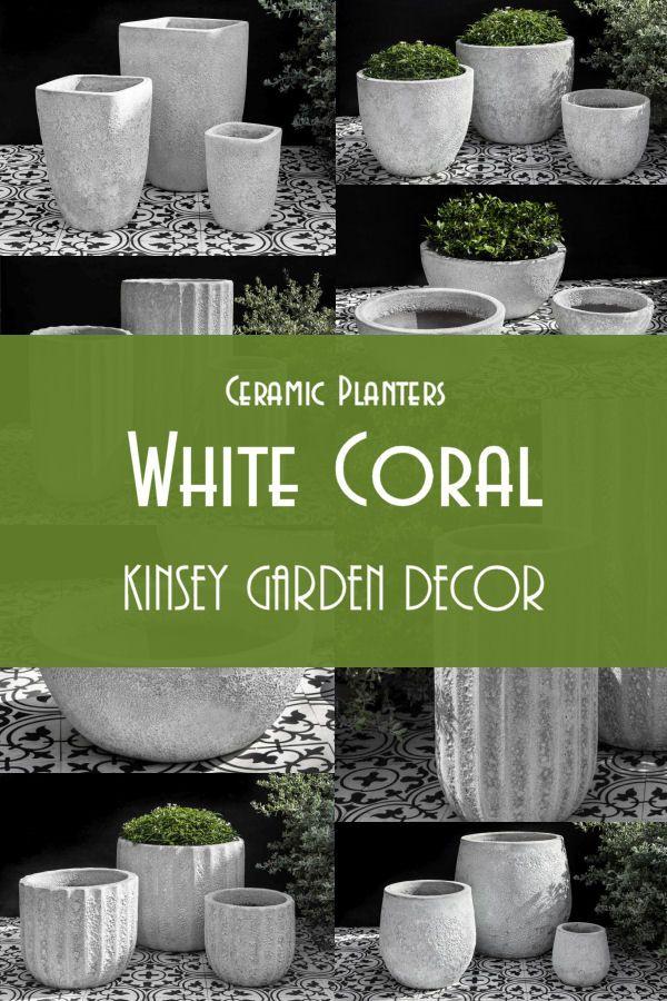 Kinsey Garden Decor White Coral Ceramic Planters White Ceramic Planter Ceramic Planters Large Outdoor Planters