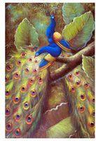 azul pavão par de aves da floresta de árvores de grande porte aviária 24x36 de óleo sobre tela pintura arte