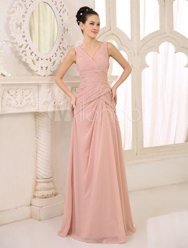 Vestido de damas de honor de chifón de color desnudo con escote en V #dress   Ref.: #03930421557 Precio 73,97€