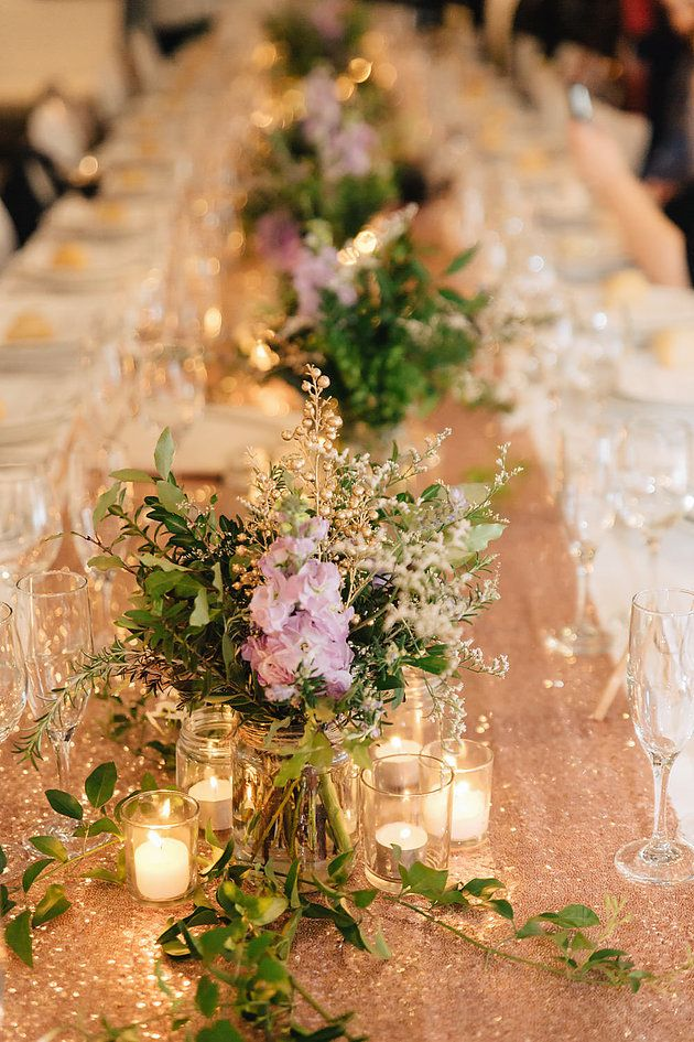 Bohemian wedding | Garden theme | Centrepieces | Purple | White | Rose Gold | Groom | Oy Photography | Long tables | Sequin Runner | Candles | Vines | Melbourne Wedding